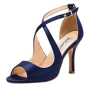 ElegantPark Women Peep Toe High Heel Sandals Cross Strappy Wedding Evening Dress Shoes Buckle Stain
