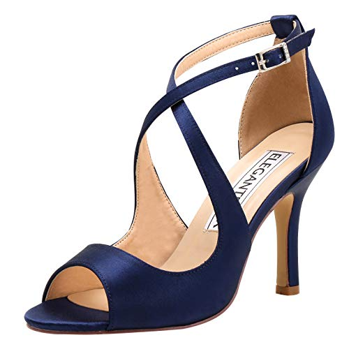 ElegantPark HP1820 Women Peep Toe High Heel Sandals Cross Strappy Wedding Evening Dress Shoes Buckle Stain Navy Blue US 7 -