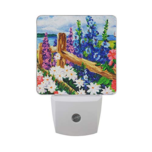 LED Night Light with Smart Dusk to Dawn Sensor,Roll Over Image to Zoom in Floral Oil Painting SPR Plug in Night Light Great for Bedroom Bathroom Hallway Stairways Or Any Dark Room