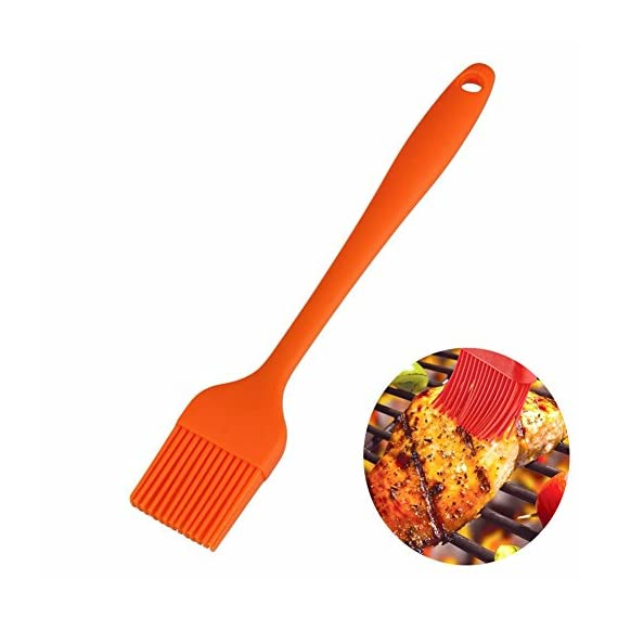 BERTERI 3 in 1 BBQ Grill Brush Scrapers for Barbecue Cleaning with 1 Free Silicone Basting Brush, Multifunction - Comfortable Handle, Perfect Cleaner Scraper for Grill Cooking Grates/Racks/Burners 7 HIGH QUALITY - This grill cleaner has high quality brass bristles, metal scraper, and scrub pad. UNIQUE DESIGN - The solid stainless steel scraper perfectly angled to help penetrate and clear away stuck-on grime. LONG LASTING - The bristle is great for all surfaces including porcelain, stainless steel and cast iron;The sponge scrubber helps to wipe grill clean, ergonomic design plastic handle is easy and comfortable.