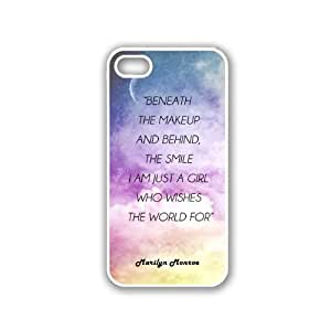 Marilyn Monroe Quote - Beneath The Makeup And Behind The Smile I Am Just A Girl Galaxy Sky iPhone 5 White Case - For iPhone 5/5G White - Designer TPU Case Verizon AT&T Sprint wangjiang maoyi