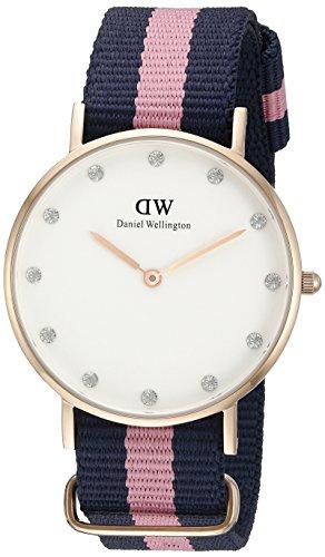 Daniel-Wellington-0952DW-Reloj-para-mujer-con-correa-de-nylon-color-azul-marino-rosa