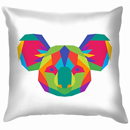 Colorful Geometric Polygon Koala Symbol Animals Wildlife Cotton Linen Home Decorative Throw Pillow Case Cushion Cover for Sofa Couch 18X18 Inch -