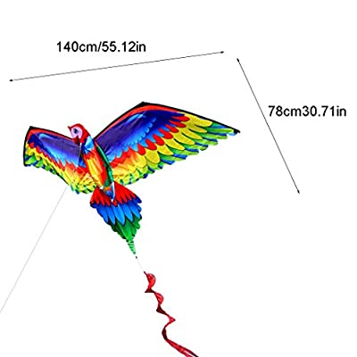 WEIXIE 3D Parrot Kite Single Line Flying Kites with Tail and Handle for Adult and Kid: Toys & Games