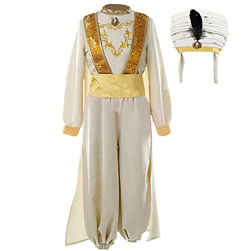 Tinyones Adult Mens Arabian Prince Costume Feather Hat Suits Halloween Party (L, Beige ()