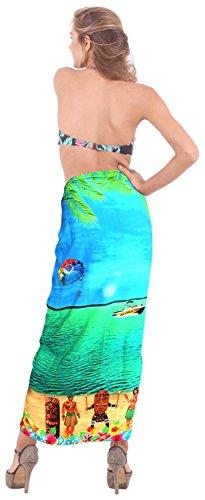 señoras likre vestido de natación pareo hawaiano de la falda del abrigo ropa de playa crucero sol del bikini Bleu Nous: 36W (3X) / Uk: 38