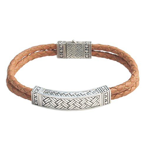 Link Bracelet Sterling Silver Artisan (NOVICA Men's .925 Sterling Silver and Braided Brown Leather Bracelet, 8.75