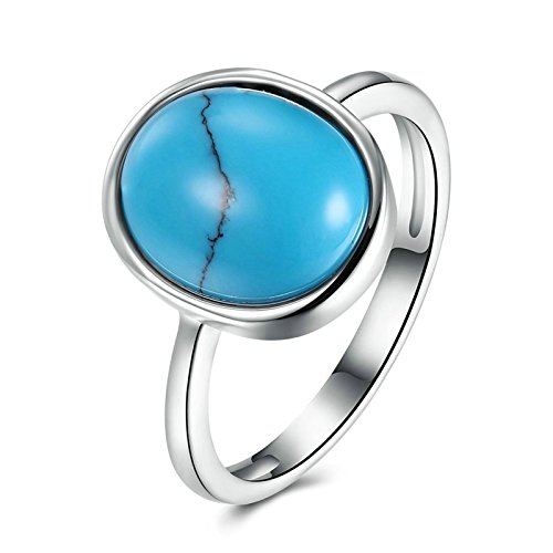 Tip Top Tiara (Epinki 925 Sterling Silver Women Ring Round Turquoise Ring Classic Wedding Band And Rings Size 6)