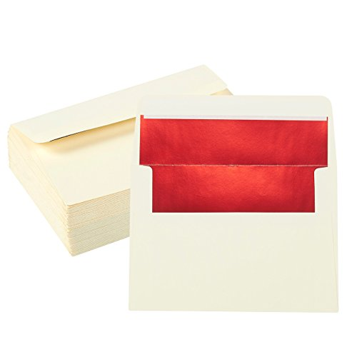 50 Pieces A7 Invitation Envelopes - Peel and Seal Envelopes Perfect for Weddings, Graduations, Birthday Invitations - 120gsm, White Outside, Red Inside, 120 GSM Envelopes, 5 x 7 Inches (White Envelope Red Lined)