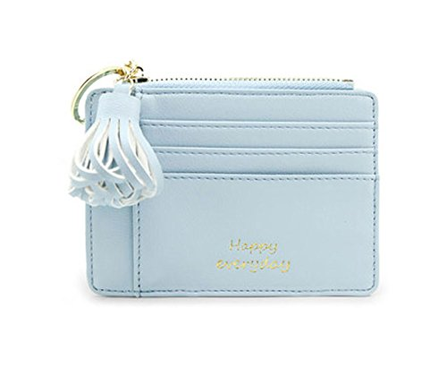 Tassel Purse Fashion Card Wallet Mini slim Credit Card Case with Key Ring and Zipper (Pastel Blue) by KGARDEN