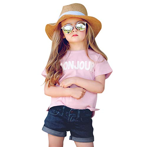 Toddler Baby Short Sleeve Letter Print Tops+Denim Shorts Outfits Sets by SIN vimklo(12M-5Y)