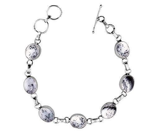 Genuine Oval Shape Dendrite Opal Link Bracelet 925 Silver Overlay Handmade Vintage Bohemian Style Jewelry for Women Girls ()