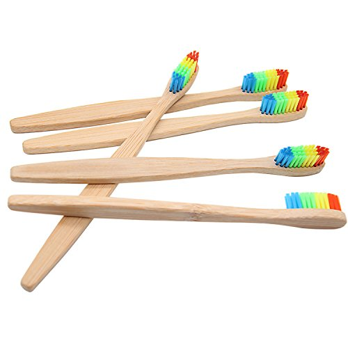 G43RG 4 pcs Wooden Rainbow Bamboo Toothbrush Oral Care Soft Bristle Head Bamboo Toothbrush Wholesale