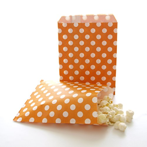 Thank You Treat Gift Bags, Orange Polka Dot (25 Pack) – Birthday Party Favor Sacks for Candies, Toys, Crafts, Hats, Noisemakers & Kazoos (Noisemakers Wedding)