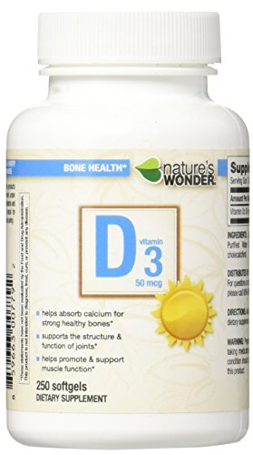 Nature's Wonder Vitamin D3 50mcg (2000IU) Soft Gels, 250 Count