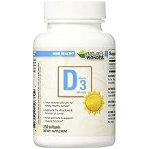 Nature's Wonder Vitamin D3 50mcg (2000IU) Soft Gels, 250 Count