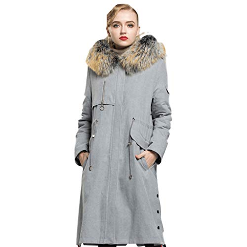 HopeShow Women's Fur Hooded Parka Adjustable Drawstring Waist with Detachable Liner Coat Jacket Grey]()