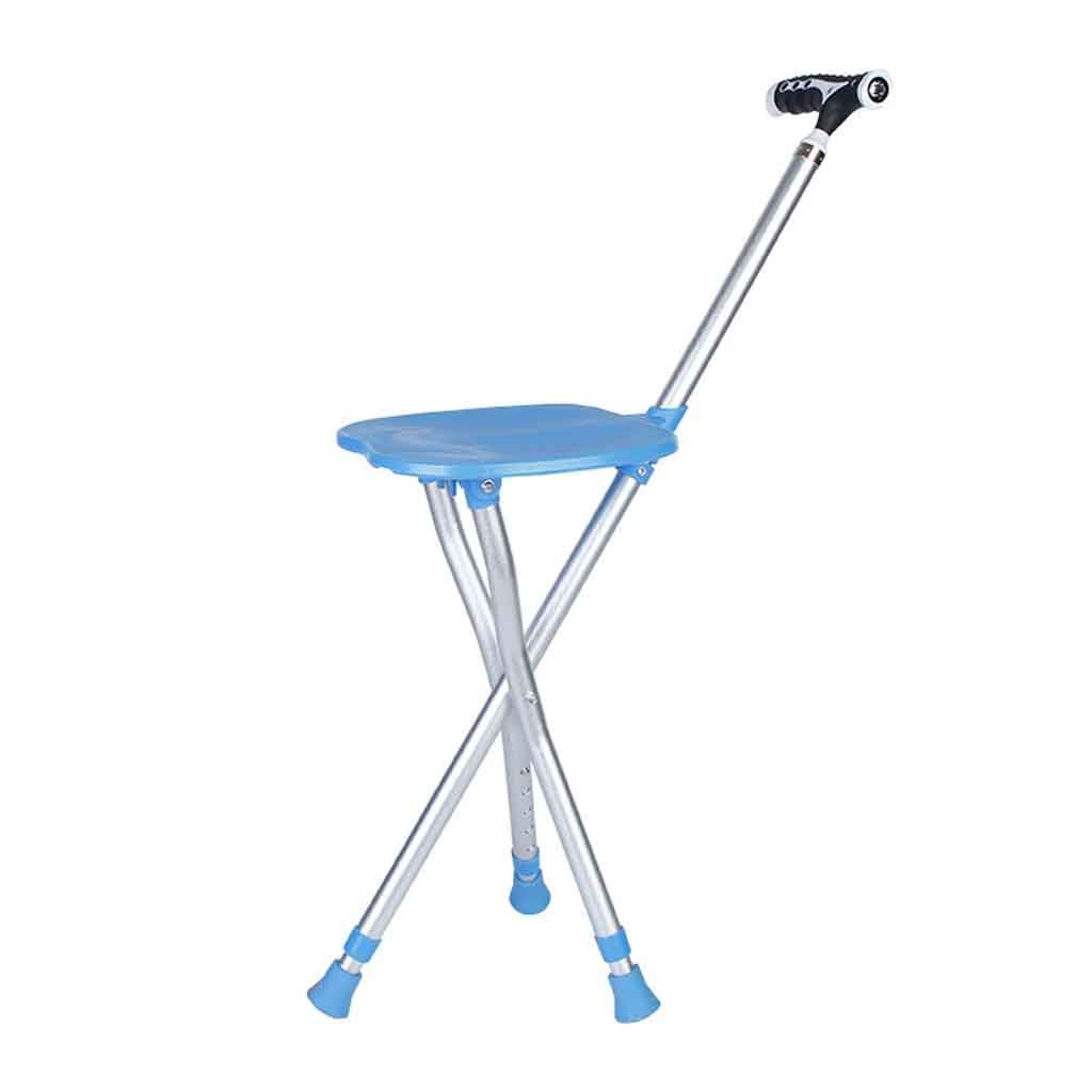 Portable Seat Outdoor Aluminum Folding Cane Stool Chair Telescopic Adjustment Height with Light Multi-Function The Elderly Tools Lightweight Waiting Fishing Travel Compact Crutches Massage