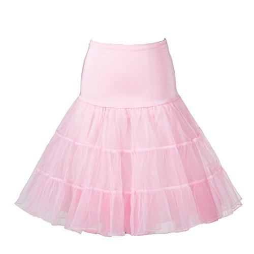 "KekeHouse? 1950s 26"" Rockabilly Jupon pour vintage robeRtro Jupe Femme Petticoat Tutu Rose"