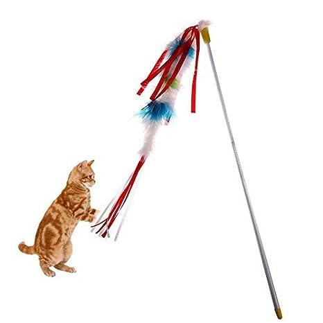 Broadroot Cañas colgantes de plumas artificiales para gatos ...