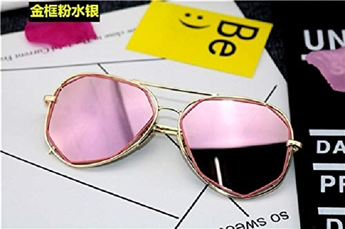 GOKAGY Korea Personality Round face Long face yurt Sunglasses Sunglasses Women Girls Tide 2018 Avant-Garde Eye uv Protective Eyewear (Gold Frame Powder (Glasses Bag Feeding)
