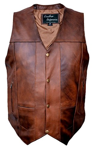 - Leather Supreme Men's Ten Pocket Concealed Carry Retro Brown Buffalo Hide Leather Vest with Removable Holster-Brown-40