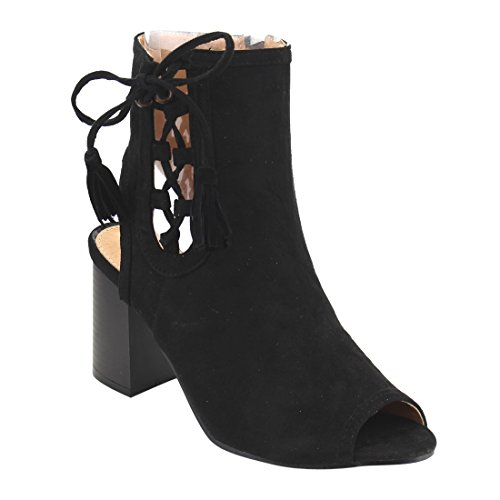 Beston FH25 Womens Tassels Side Peep Toe Ankle Bootie Sandals Half Size Small Black