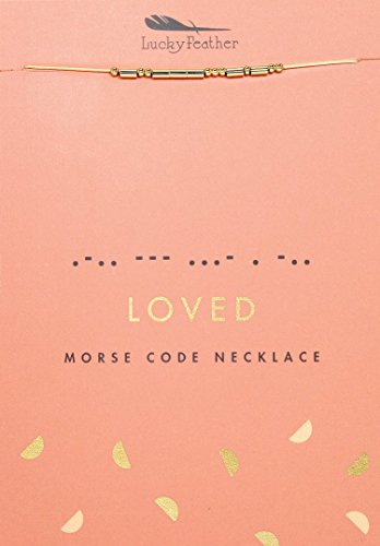 Lucky Feather Morse Code Secret Message Necklace - Loved - 14K Gold Dipped Best Friend Necklaces