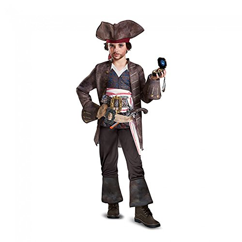 Pirates Of The Caribbean Captain Jack Sparrow Deluxe Boys Kids Child Costume (M) (Deluxe Kids Captain Jack Sparrow Costumes)