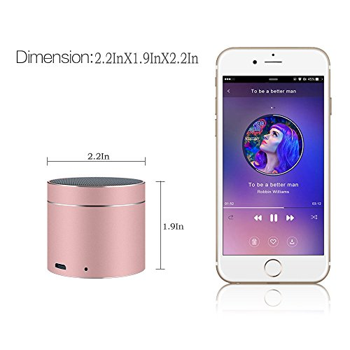 Bluetooth Speakers SEALVIA Wireless Speaker Mini size with Enhanced Bass and Noise-Cancelling Microphone for iPhone6/6S/7/7S android phone iPad Samsung Nexus HTC Laptops (more colors) KT8 (Rose Gold) by SEALVIA (Image #5)