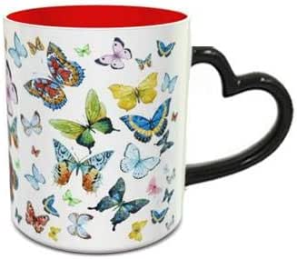 Heat Sensitive Heart Handle Red Ceramic Mug with Butterfly Pattern Design 196