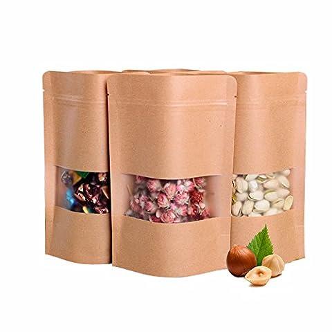 25PCS 9×14CM(6.3Mil) Mini Pack Kraft Paper Bags Stand up Zipper