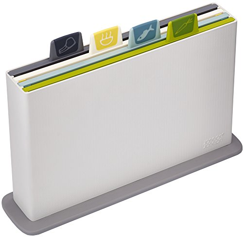 Joseph Joseph 60113 Index Cutting Board Set with Storage Case Plastic Color Coded Dishwasher-Safe, Small, Opal (discontinued model)