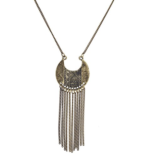 Lux Accessories Burnished Gold Tribal Tassel Pendant Necklace (Gold Pendant Burnished)