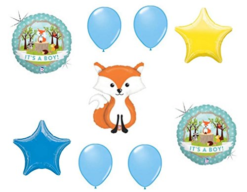 LoonBalloon Fox Woodland Animals It's a BOY Welcome Baby Shower (9) Party Mylar Balloons Set by LoonBalloon