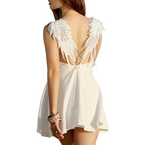 Women's V-neck Angel Wings Open Back Slip Dress Skater Mini Dress (M, Updated Style White) -