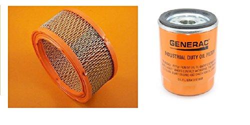 Generac Air Filter 0C8127 and Generac/Universal Generator Parts Replacement Oil Filter Sets for 070185B, 070185D, 070185E and 070185ES (Air and Oil (Generac Replacement for 070185E)) (Filter Generac Air)