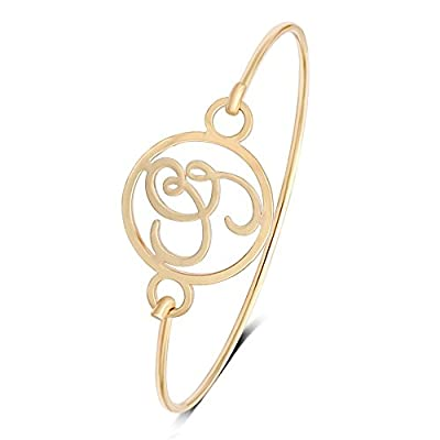 New TUSHUO Simple Personality Gold Plated Hollow 26 Letters Bangle Letter Jewelry for Women supplier