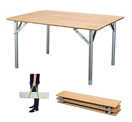 ATEPA 4 Fold Heavy Duty Bamboo Outdoor Dining Picnic Folding Table,  Lightweight, Adjustable