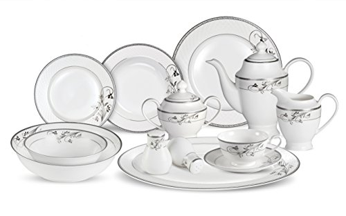 (Lorenzo 57 Piece Elegant Bone China Service for 8 Viola Dinnerware Sets, Silver)
