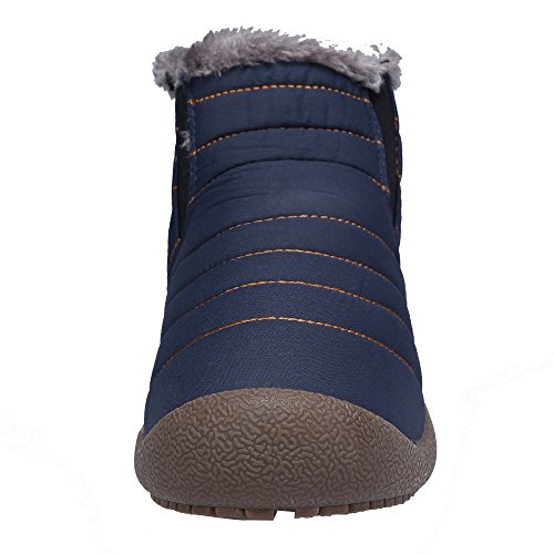 DENGBOSN Women's Fur Lined Winter Waterproof Ankle Snow Boots Booties Shoes Blue-hightop 9JlF0