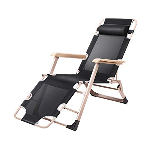 Folding Recliners Folding Recliner Reclining Lounge Lazy Relaxer Deck Chair Portable Adult Beach Balcony Garden Bedroom Weight 200kg Black ()