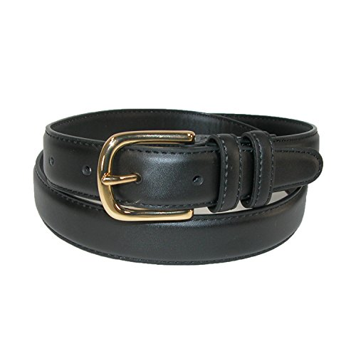 Aquarius Men's Leather Feather Edge Belt with Gold Buckle, 40, (Aquarius Leather Belt)