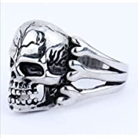 paweena Mens Gothic Skull Flower Biker Stainless Steel Ring US Size9 10 11 12 u Pick (12)