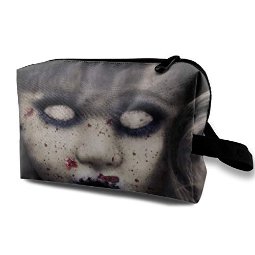 Halloween Zombie Doll Horror Evil Scary Face Multi-function Travel Makeup Toiletry Coin Bag Case ()