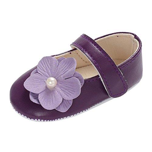 Lanhui Infant Kids Sandals Girl Leather Flowers Anti-Slip Slipper Crib Shoes (12-18Months, Purple) -