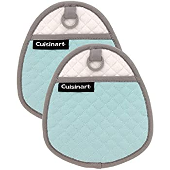 Cuisinart Quilted Silicone Pot Holders and Oven Mitts with Soft Insulated Pockets, 2pk - Heat Resistant Hot Pads, Potholder, Trivets with Non-Slip Grip to Safely Handle Hot Cookware - Pastel Turquoise