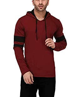 Katso Men's Cotton Hooded Stripe T-Shirt (Maroon, Medium)
