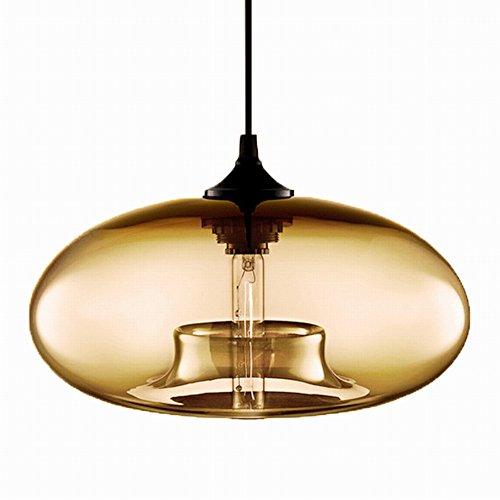 Newrays Modern Single Amber Glass Pendant Lighting Ceiling Light for Kitchen Island Lighting Fixtures ()