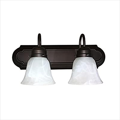 AA Warehousing L22-RB Monica 1 Bathroom Vanity Light in Oil Rubbed Bronze - 2 light vanity light Oil Rubbed Bronze Acid white glass - bathroom-lights, bathroom-fixtures-hardware, bathroom - 4105x35LhwL. SS400  -